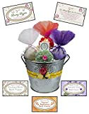 pressed pot - Premium Bath Bomb Gift Set with Green Tea Konjac Sponge & Lip Balm. Trio of Extra-Large Luxurious Spa Bath Fizzies in Pressed Tin Flower Pot – Beautifully Gift Wrapped! All-Natural & Vegan!