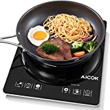 Aicok Portable Induction Cooktop, Countertop Burner with Timer, 15 Power Levels, 15 Preset Temperatures, Ultra-Thin Design, Black