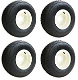 Slasher 18x8.50-8 GTX OEM Golf Cart Wheels and Golf Cart Tires Combo - Set of 4 (18x8.5-8, Beige)