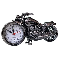 Creative Fashion Personality Students Children Alarm Clock Bedside Retro Clock-Motorcycle (Silver)