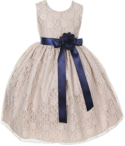 Big Girls' Champagne Dress Lace Custom Ribbon Flowers Girls Dresses Navy Navy 12