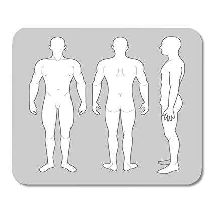 Boszina Mouse Pads Back Human Male Body From Three Angles Outline Side Pad 95quot