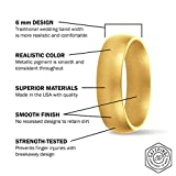 SafeRingz Metallic Silicone Wedding Ring, 6mm, Made in The USA, Men or Women, Gold 11