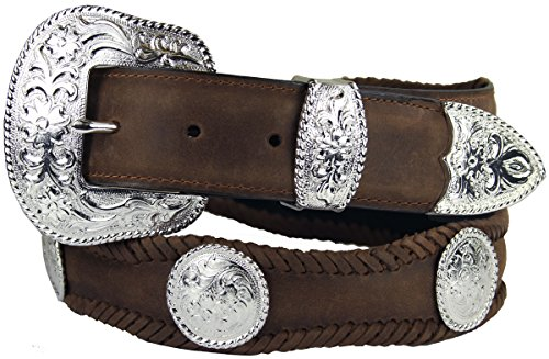 [Silver City Western Concho Leather Scalloped Belt Brown 38] (Concho Western Leather)