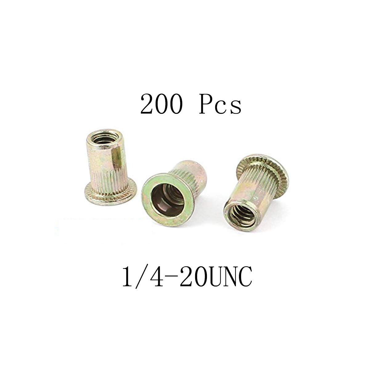 Saim Rivet Nuts Flat Head Rivnut Threaded Insert Nutsert Zinc Plated Carbon Steel Knurled Body Rivet Nut 1//4-20UNC 120Pcs