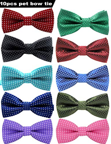VICTHY Pet Bow Tie, Colorful Polka Dots Adorable Collar Butterfly Knot Puppy Adjustable Bow Ties for Dogs/Cats/Other Pets ()