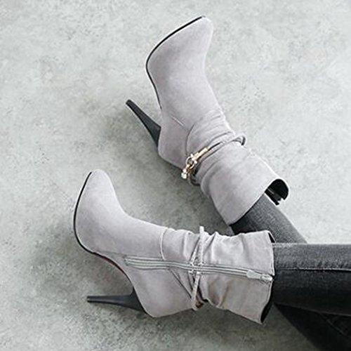 Easemax Mujeres Trendy Hebilla Plisada Hebilla Del Dedo Del Pie Puntiagudo High Stiletto Heel Side Cremallera Botas Gris