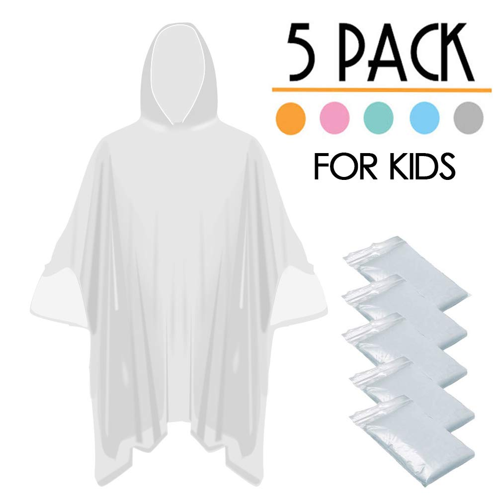 FANSIR Disposable Rain Poncho Perfect for Camping Festivals and Hiking Waterproof Pac a Mac with Hoods Pack of 5 Emergency Ponchos