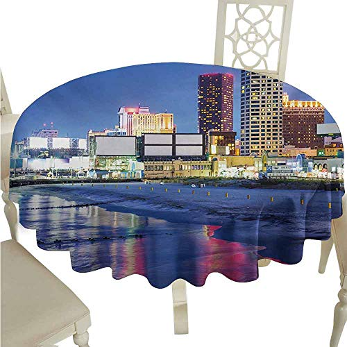 duommhome City Waterproof Tablecloth Resort Casinos on Shore at Night Atlantic City New Jersey United States Easy Care D39 Violet Blue Pink Yellow -