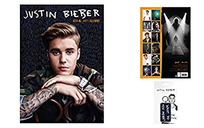 Set: Justin Bieber, Official Calendar 2017 (17x12 inches) And 1x Keychain Keyring For Fans (6x3 inches)