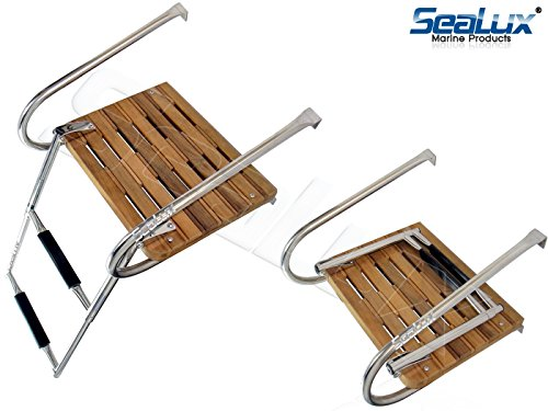 SeaLux Marine Teak Swim Platform with Over TOP Mount 2-Step Ladder and 2 handrails for inboard Motor