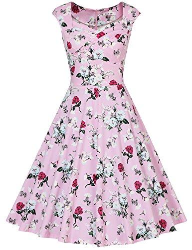 60s Plaid Skirt (MUXXN Women's Ruched Bust High Waist Formal Work Midi Dress (Floral Pink XL))