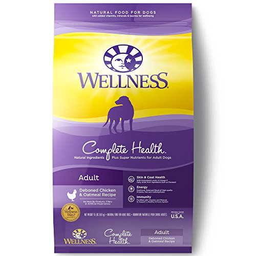 Wellness Complete Health Natural Dry Dog Food with Grain, Chicken & Oatmeal, 15-Pound Bag