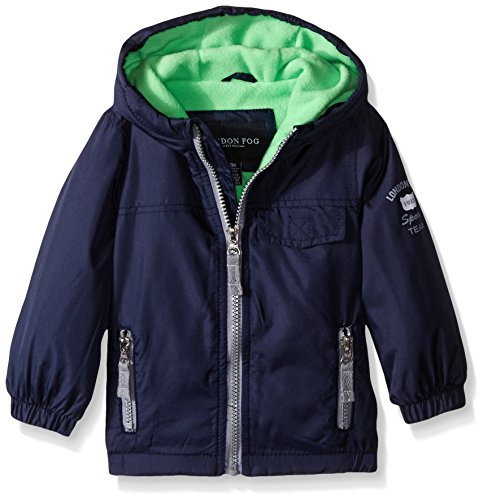 - London Fog Baby Poly Fleece Lined Windbreaker, Navy/Green, 18 Months