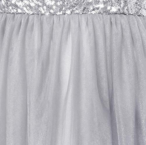 Vestono Si Ragazze Dimensioni Anni Di Festa Di 7 14 Tulle Grigio Nozze Paillettes Maglia Principessa aSBxH5wqS