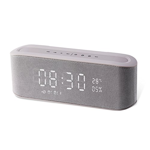 Price comparison product image Resonus 4.2 Wireless Speaker with Radio, 2 Alarm Clock, Snooze, Stereo Sound, Enhanced Bass, Aux in, TF Card Slot, LED Display Time/Thermometer, 33 ft Bluetooth Range Portable Speaker Grey