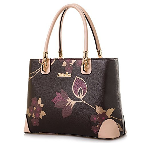 Womens Vintage Shoulder Bag All-over Flowers Pu Leather Tote Purse Cross Body Handbag (Brown)
