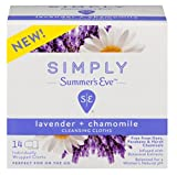 Summers Eve Simply Cleansing Cloths 14 Count Lavender & Chamomile