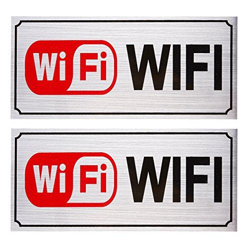 lf-Adhesive Aluminum Signs for WiFi Hotspot, Perfect for Restaurant, Cafes, Bars, Silver, 7.9 x 3.6 Inches ()