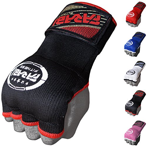 Farabi Kids Hybrid Boxing Inner Gloves Punching Boxing MMA Muay Thai Gym Workout Hand Wraps Gel Inner Gloves Fingerless Gloves Bandages Mitts Hand Protector. (Junior, Black)
