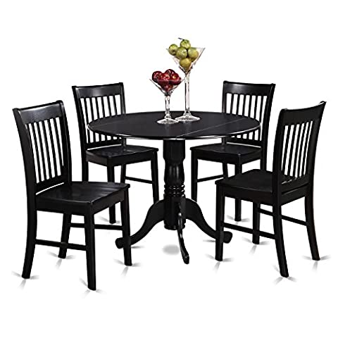 East West Furniture DLNO5-BLK-W 5-Piece Kitchen Table and Chairs Set, Black Finish - Extendable Dining Table Set