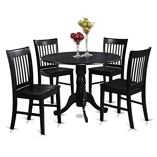 East West Furniture DLNO5-BLK-W 5-Piece Kitchen Table and Chairs Set, Black Finish (Chairs Kitchen With Round Table)
