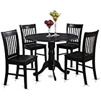 East West Furniture DLNO5-BLK-W 5-Piece Kitchen Table and Chairs Set, Black Finish