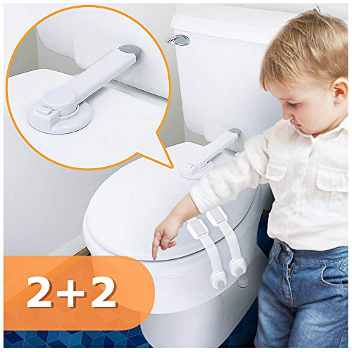 Baby Toilet Lock Proof, No Tools Needed Easy Installation with Adhesive Design for The Toilet Seat Lid, 2pcs Toddlers Toilet Locks with 2pcs Straps