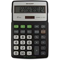 Sharp ELR287BBK 12-Digit Recycled Plastic Cabinet Calculator - Black