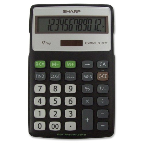 Sharp ELR287BBK 12-Digit Recycled Plastic Cabinet Calculator - Black (Toner De Sharp compare prices)