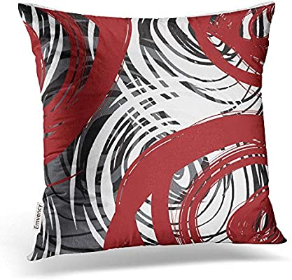 1c0af56291 Accrocn Throw Pillow Covers Red And Black White Gray Spiral Design Pattern  Retro Abstract Elegant Multicolor Cushion Decorative Pillowcases Polyester  18 x ...