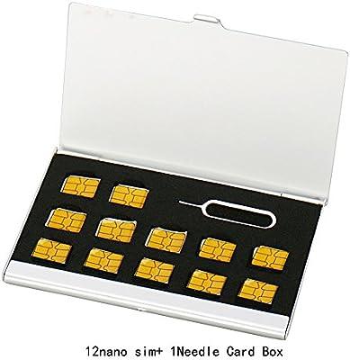 Myymee 12 Nano Sim Card Holders,Metal Aluminum alloy SD Card Holder Case Mobile Phone Memory Card Storage Bag Silver
