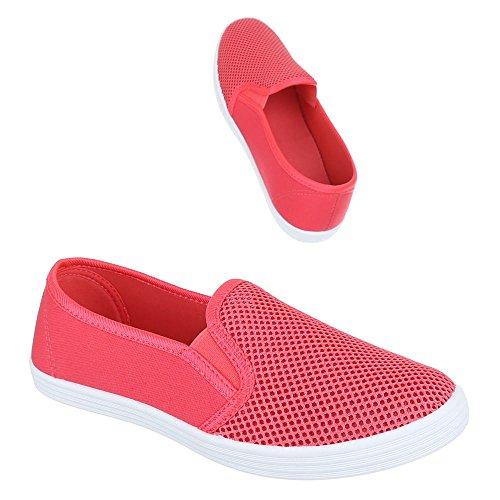 Ital-Design - Mocasines de tela para mujer Rojo - Coral