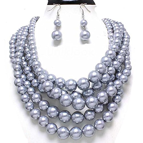 Statement Layered Simulated Necklace Earrings product image