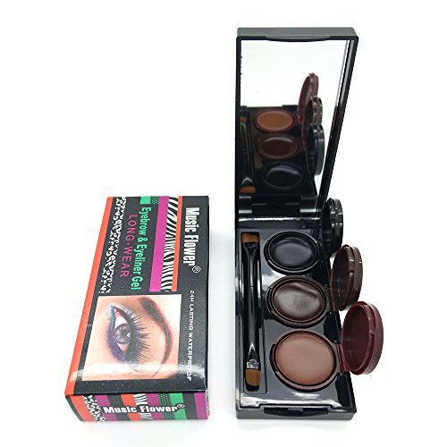 3 Color in 1 Gel Eyeliner Brown Black Coffee Eye Liner Kit Water-proof and Smudge-proof