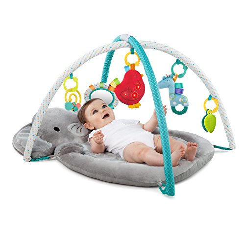 Bright Starts Enchanted Elephants Activity Gym with Ultra-Plush Soft Mat, Ages Newborn