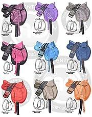 "Manaal Enterprises Synthetic Treeless FREEMAX English Horse Saddle with Handle, Girth, Leather Straps, & Aluminium Stirrup, Size 14"" to 18"" Inches Seat."
