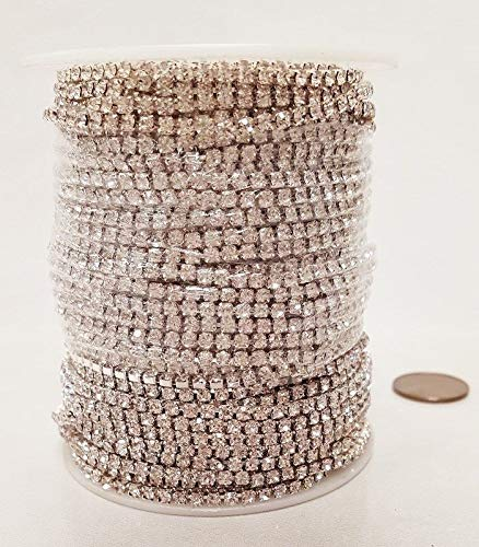 30 Meters (98 FEET) Crystal Glass 18PP Rhinestone Silver CHAINFULL Spool by Winkmode (Image #3)