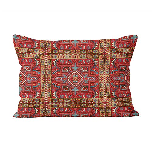 Suike Faux Carpet Repeat Section of Oriental Rug Beauty Hidden Zipper Home Decorative Rectangle Throw Pillow Cover Cushion Case Boudoir 12x20 Inch One Side Design Printed Pillowcase