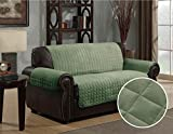 Quilted Micro Suede Pet Dog Couch Sofa Furniture Protector Cover, Kashi, 5 Colors, 3 Sizes (Love Seat 88'' X 71'', Sage)