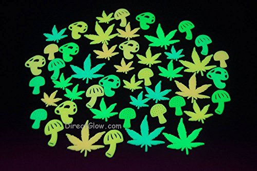 48 Piece Glow in the Dark Marijuana Weed Pot Leafs and Mushrooms]()