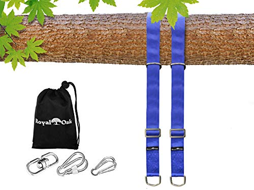 EASY HANG (8FT) ADJUSTABLE TREE SWING STRAP X2 - Holds 4400lbs. - Heavy Duty Carabiner - Bonus Spinner - Perfect for Tire and Saucer Swings - Waterproof - Picture Instructions - Carry Bag Included