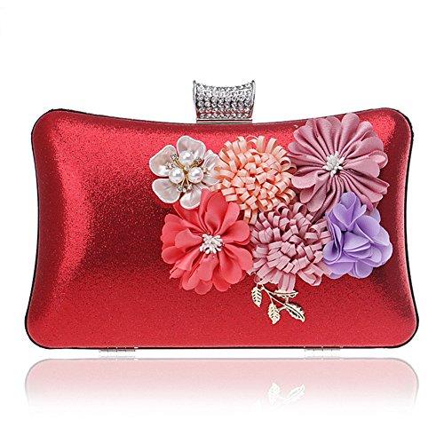 Clutch Shoulder Red Party Luxurious Out Evening Flowers Handbag Purse MSFS Women Handbag Hq5TA