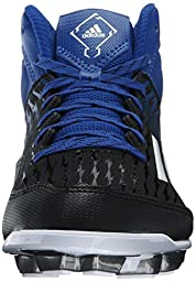 adidas Performance Poweralley 3 TPU Mid J Baseball Shoe (Little Kid/Big Kid), Black/White/Collegiate Royal, 2 M US Little Kid