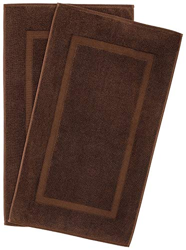 900 GSM Machine Washable 21×34 Inches 2-Pack Banded Bath Mats, Luxury Hotel and Spa Quality, 100% Ring Spun Genuine Cotton, Maximum Softness and Absorbency by United Home Textile, Chocolate Brown