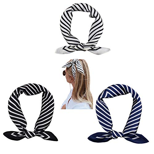 (FYLuoke Square Scarf Women's Fashion Striped Neck Scarf Soft Decorative Dots Neckerchief 21