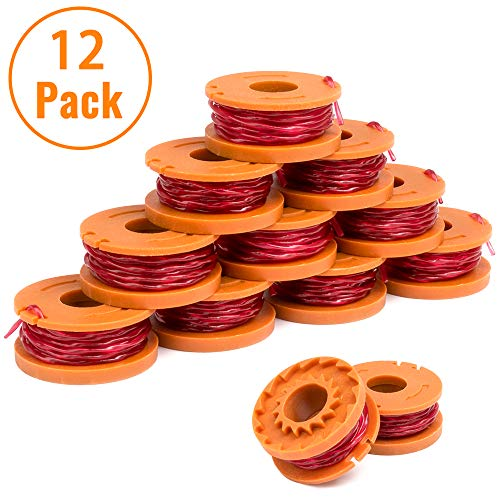 X Home Edger Spool Compatible with Worx WG180 WG163 WG175 WA0010 (12 Pack) Weed Eater String, Weed Wacker Spool Replacement Parts, Trimmer Line Refills 10ft 0.065 inch for Electric String Trimmers