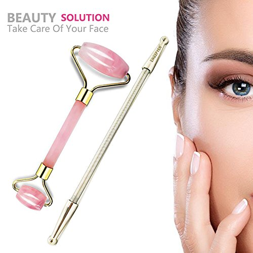 Anti Aging Rose Quartz Jade Roller for Face and Spring Facial Hair Remover,100% Natural Jade Facial Roller Double Neck Healing Slimming Massager,Stainless Steel Facial Hair Removal Spring for Women