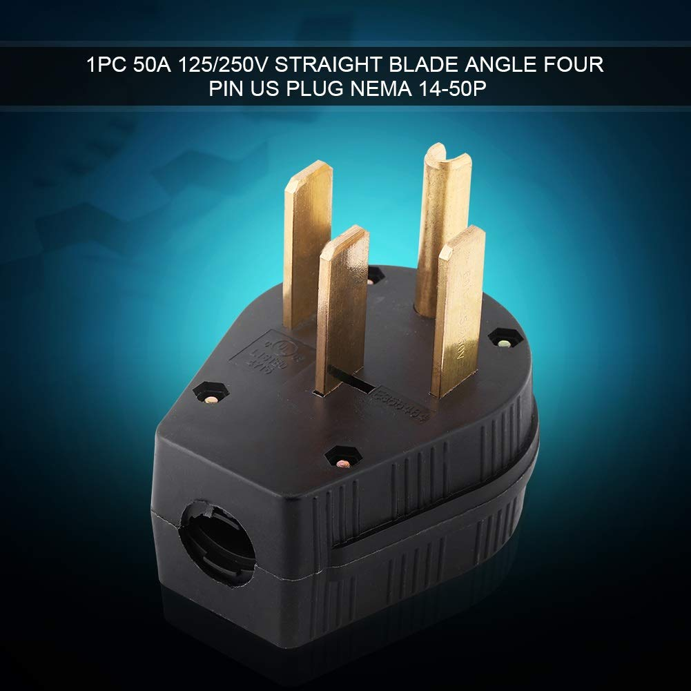 Plug 50A 125//250V Straight Blade Angle Four Pin US Plug NEMA 14-50P