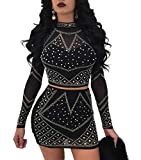 Nhicdns Womens Sexy Two Pieces Bodycon Outfit Embellished Rhinestone Long Sleeve Crop Top Mini Dress Clubwear